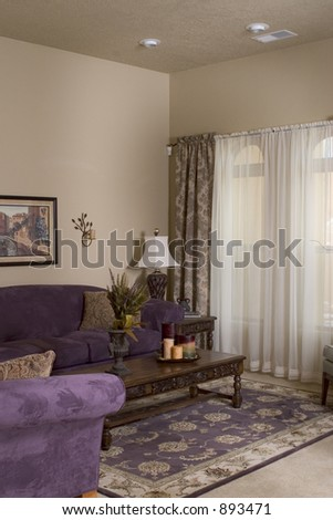 living room in a model home - stock photo