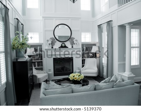 living room in clean whites - stock photo