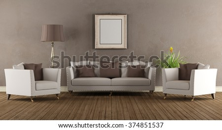 Living room in old style with elegant sofa and two armchairs - 3D Rendering - stock photo