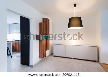 Living room interior connected with kitchen - stock photo