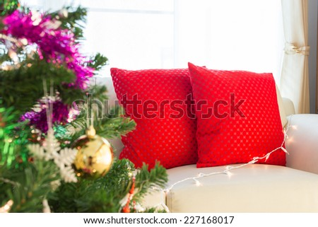 living room interior decorated christmas eve - stock photo