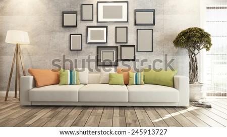 living room interior design 3D rendering - stock photo