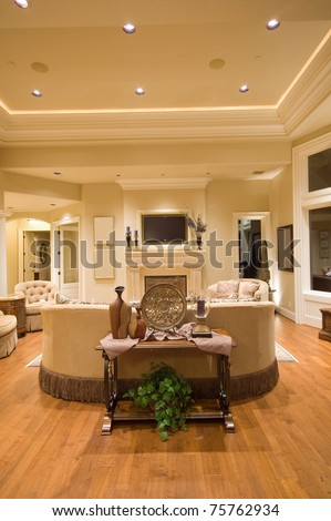 Living Room Interior in Luxury Home - stock photo