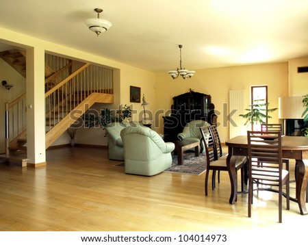 Living room: interior of modern and cosy house - stock photo