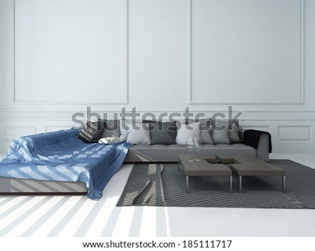 Living room interior with gray couch against white wall - stock photo