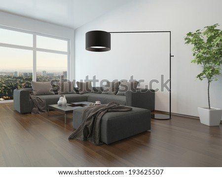 Living room interior with gray couch, coffee table and floor lamp - stock photo