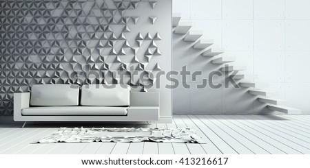 living room interiors loft concrete wall concrete staircase 3D Render Image - stock photo
