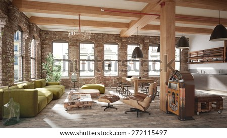 Living room loft in rustic style - 3 d render (using 3 d s Max) - stock photo