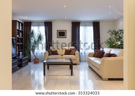 living room of a modern apartment, leather sofas - stock photo