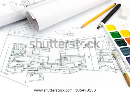 living room plan and drawing tools on a designers desk background - stock photo