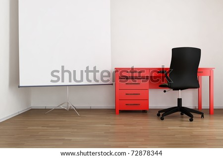Living Room Setting - office table, chair and flip-chart to face a blank wall, cgi - stock photo