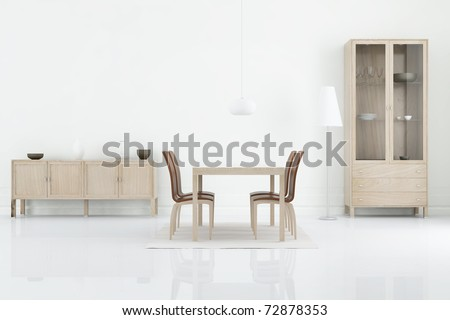 Living Room Setting - table, chair and rack to face a blank wall, cgi - stock photo