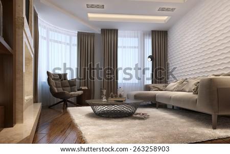 Living room techno style, 3d render - stock photo
