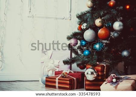 living room with Christmas Tree - stock photo