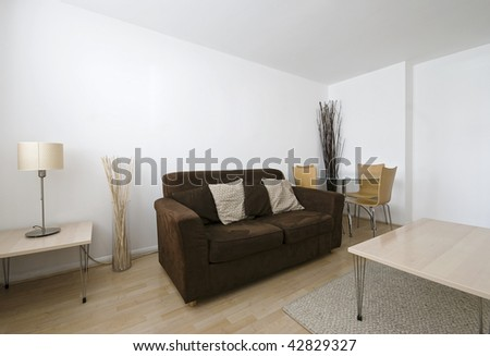living room with decoration in neutral colors - stock photo