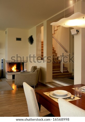 living room with fire place - stock photo