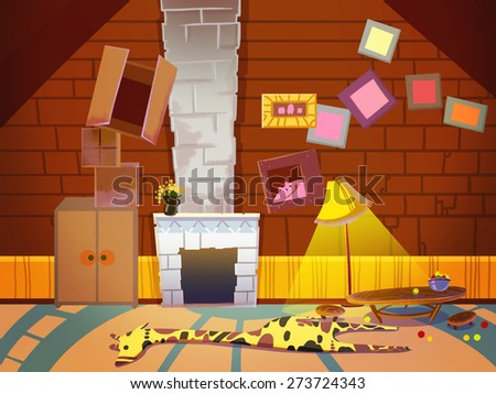 Living Room with Fireplace, Chimney and Photo Frames. Digital background raster illustration for kids book. - stock photo