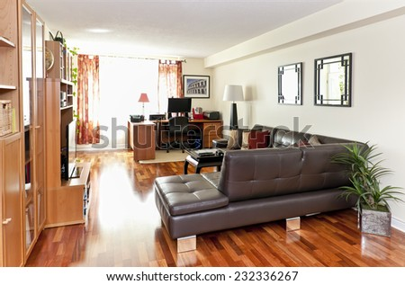 Living room with hardwood floor - artwork on walls are from my own portfolio - no release required - stock photo