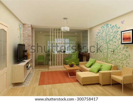 Living Room with Landscape View, 3D Interior Architecture - stock photo
