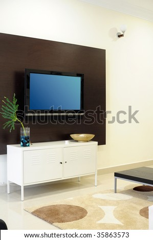 Living room with LCD television - stock photo