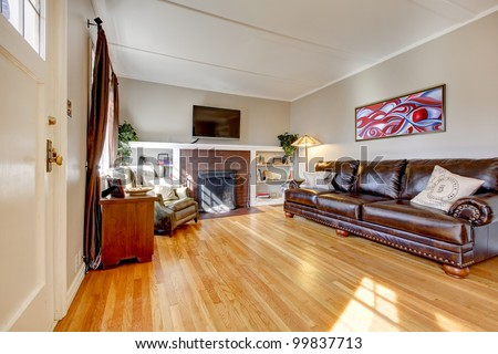 Living room with leather sofa, fireplace and TV and red painting. - stock photo