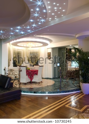 living room with luxury lights - stock photo
