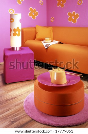 living room with orange sofa - stock photo