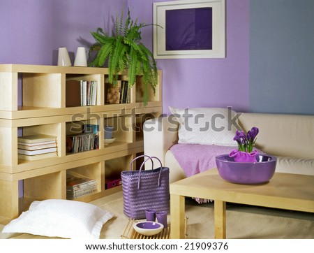 living room with violet walls - stock photo