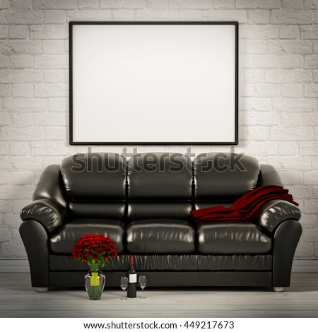 living white room with leather sofa 3d illustration - stock photo
