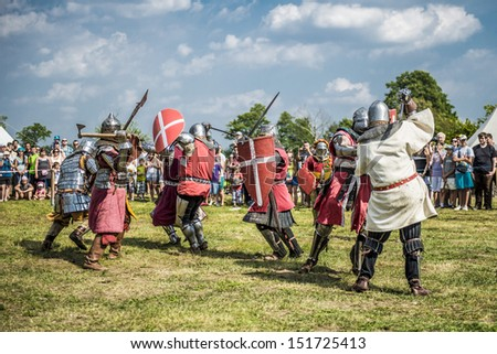 LIW, POLAND 17 AUGUST: Members of Medieval Reenactment Order fight in Liw Tournament on 17 August 2013 in Liw, Poland - stock photo