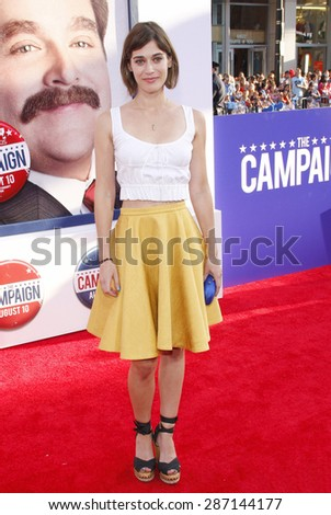 """Lizzy Caplan at the Los Angeles premiere of 'Campaign"""" held at the Grauman's Chinese Theater in Hollywood on August 2, 2012.  - stock photo"""