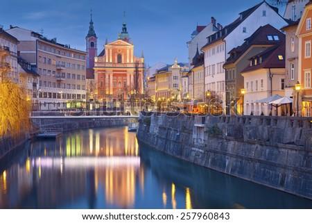 Ljubljana. Image of Ljubljana, Slovenia during twilight blue hour. - stock photo