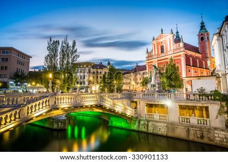 Ljubljana Landmark - Tromostovje in the city center, Slovenia - stock photo