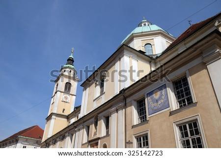 LJUBLJANA, SLOVENIA - JUNE 30: Cathedral of St Nicholas in the capital city of Ljubljana, Slovenia on June 30, 2015 - stock photo