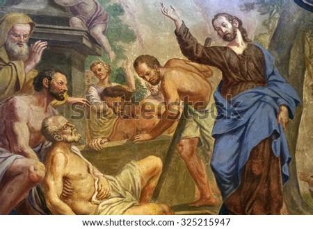 LJUBLJANA, SLOVENIA - JUNE 30: Jesus Miracles - Raising Lazarus, fresco in the St Nicholas Cathedral in the capital city of Ljubljana, Slovenia on June 30, 2015 - stock photo