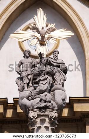 LJUBLJANA, SLOVENIA - JUNE 30: Pillar of Holy Trinity in Ljubljana, Slovenia on June 30, 2015 - stock photo