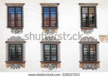 LJUBLJANA, SLOVENIA - JUNE 30: Windows of old house in Ljubljana, Slovenia on June 30, 2015 - stock photo