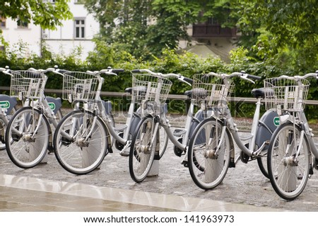 LJUBLJANA, SLOVENIA-MAY 24: Bicycles for rent are seen in Ljubljana, Slovenia  on May 24, 2013.  The bike rental program is new along with a growing tourism industry in Slovenia. - stock photo