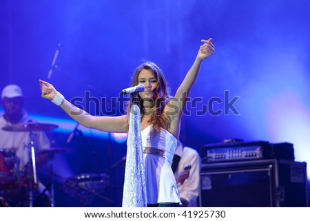 LJUBLJANA, SLOVENIA - SEPTEMBER 4: Pop singer Joss Stone live on Vesolje veselja concert September 4, 2009 in Ljubljana, Slovenia - stock photo