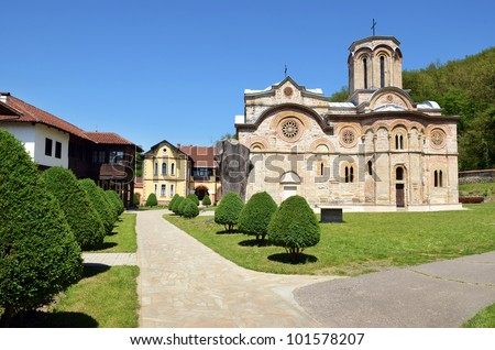 Ljubostinja monastery. Ljubostinja is a Serb Orthodox monastery near Trstenik, Serbia. It was founded by Prince Lazar Hrebeljanovic in 1388, just before the Battle of Kosovo. - stock photo
