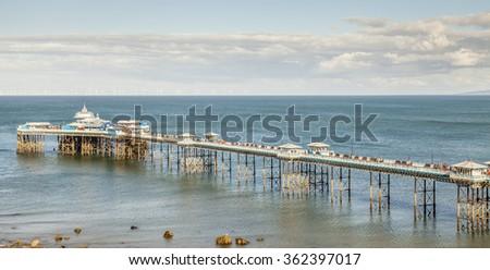LLANDUDNO September 12th 2015. Llandudno Pier. Built between 1876 and 1871 on the North Beach a  holiday resort of Llandudno, Conwy, north Wales. - stock photo