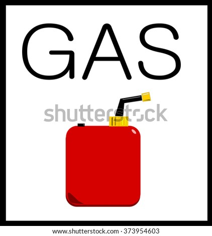 lllustration of gas and petrol can leaking gasoline - stock photo