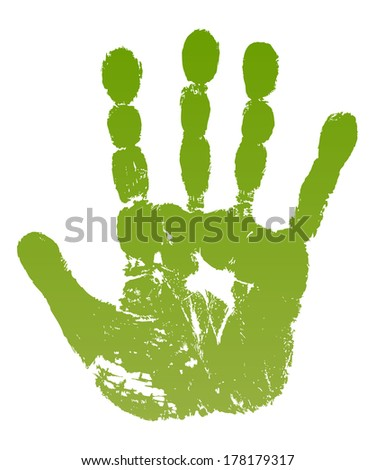 lllustration old man green hand print isolated on white background - stock photo