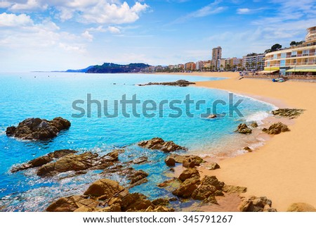 Lloret de Mar beach in costa Brava of Catalonia Spain - stock photo