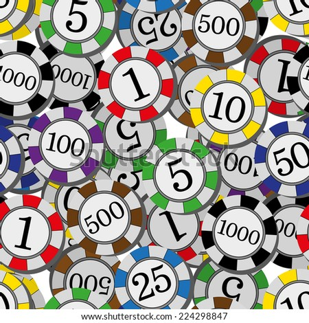 llustration seamless pattern the Casino chips - stock photo