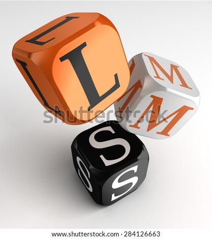 LMS Learning Management System acronym orange black dice blocks on white background - stock photo