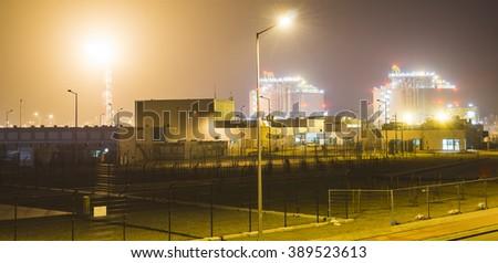 lng LNG terminal at night - stock photo