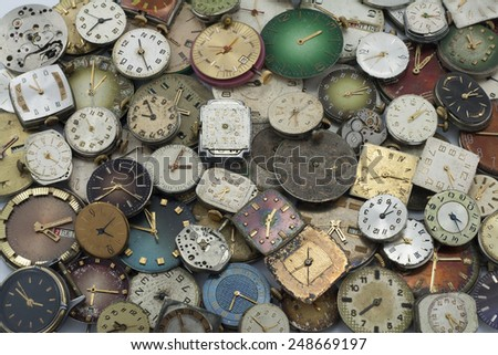 Load Various Antique pocket watches on white - stock photo