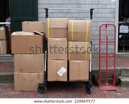 Loaded boxes. - stock photo