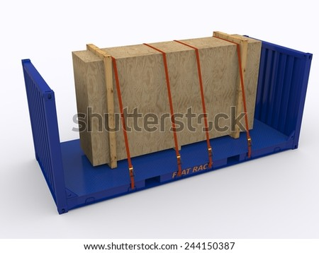 loaded flat rack container - stock photo